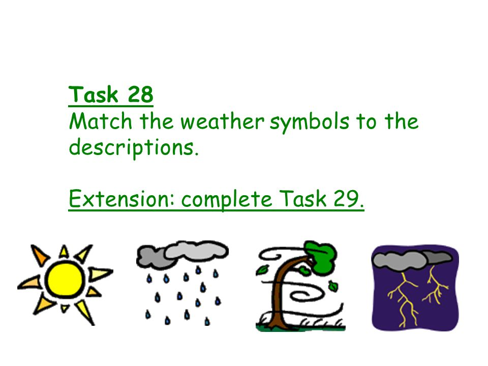 Match the weather symbols to the descriptions.