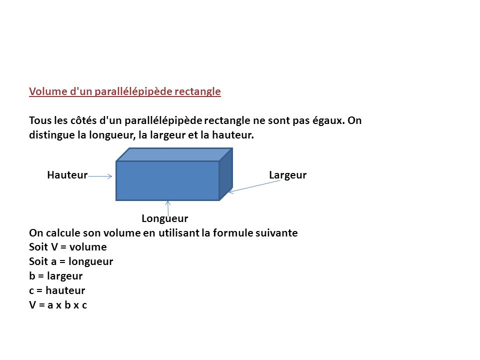 Volume d un parallélépipède rectangle