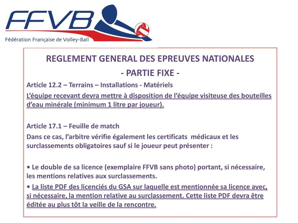 REGLEMENT GENERAL DES EPREUVES NATIONALES