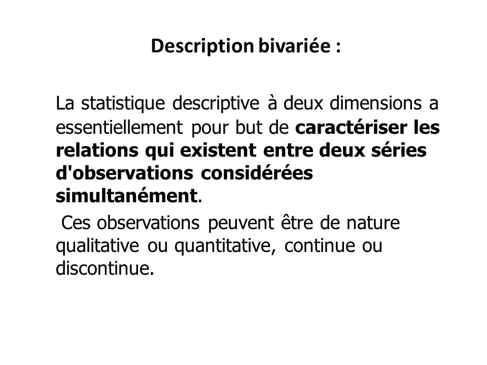 Description bivariée :