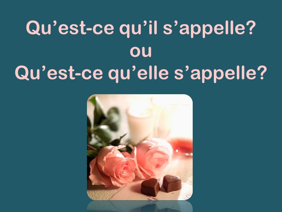 Qu'est-ce qu'il s'appelle ou Qu'est-ce qu'elle s'appelle