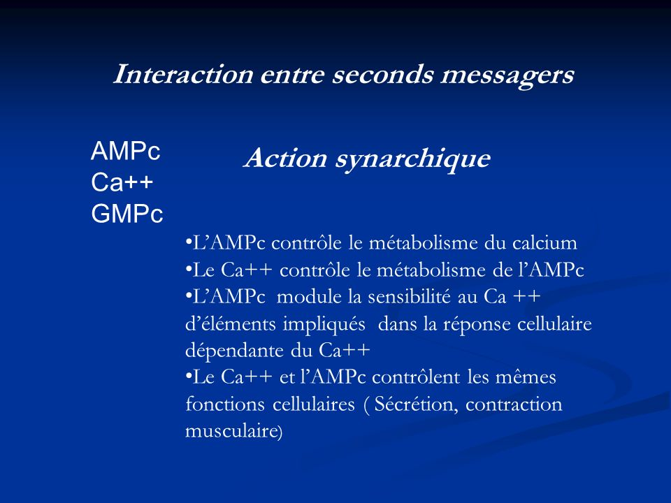 Interaction entre seconds messagers