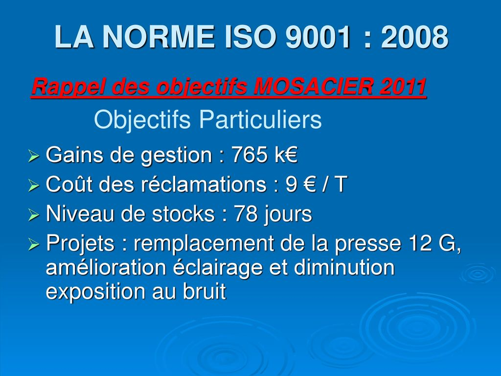 LA NORME ISO 9001 : 2008 Objectifs Particuliers