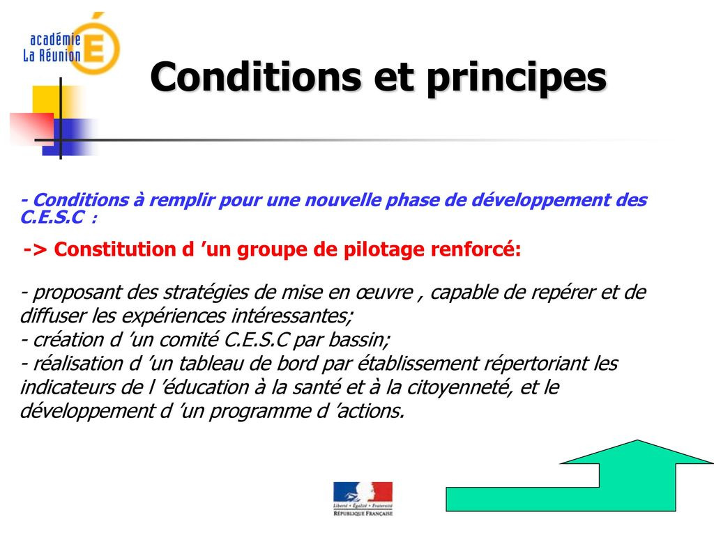 Conditions et principes