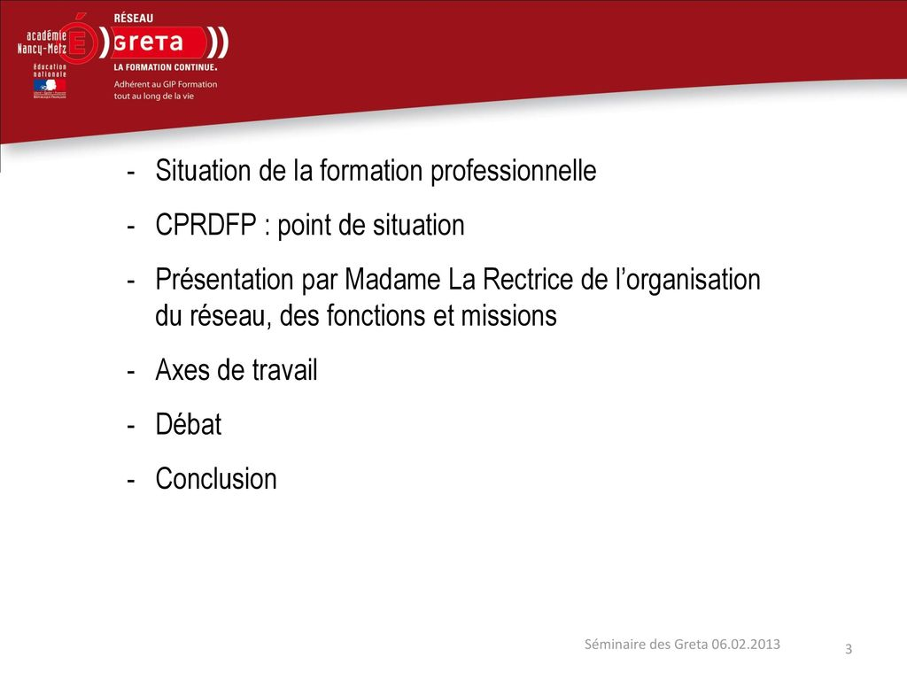 Situation de la formation professionnelle CPRDFP : point de situation