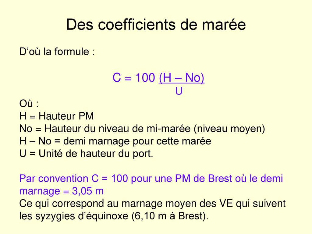 Des coefficients de marée