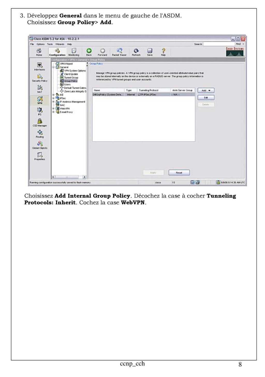 Sécurité - ASA - Configuration VPN SSL sans client avec ASDM