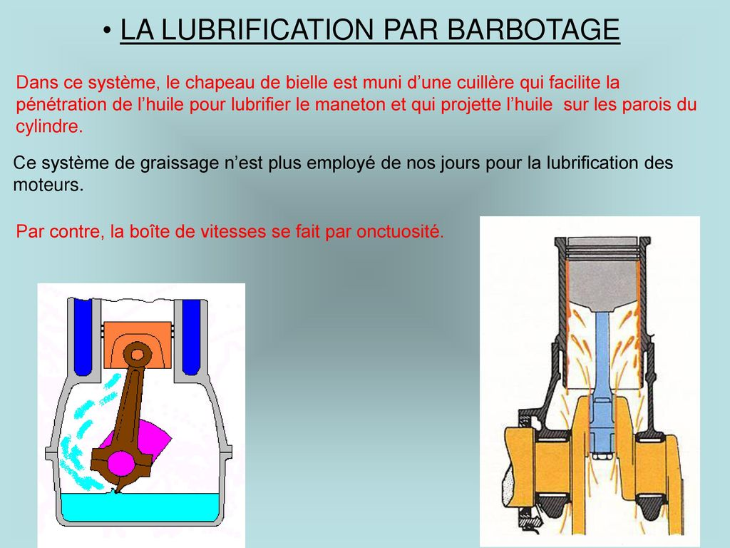 LA LUBRIFICATION PAR BARBOTAGE