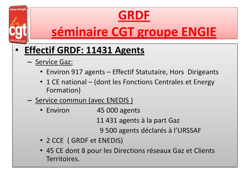 GRDF séminaire CGT groupe ENGIE