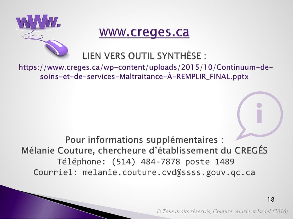 www. creges. ca LIEN VERS OUTIL SYNTHÈSE :   creges