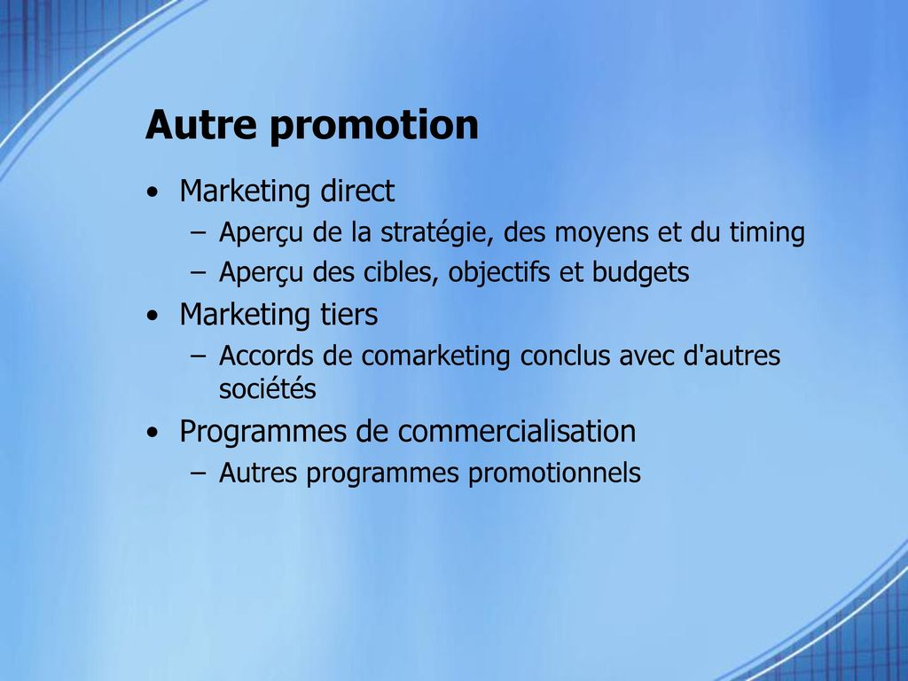 Autre promotion Marketing direct Marketing tiers