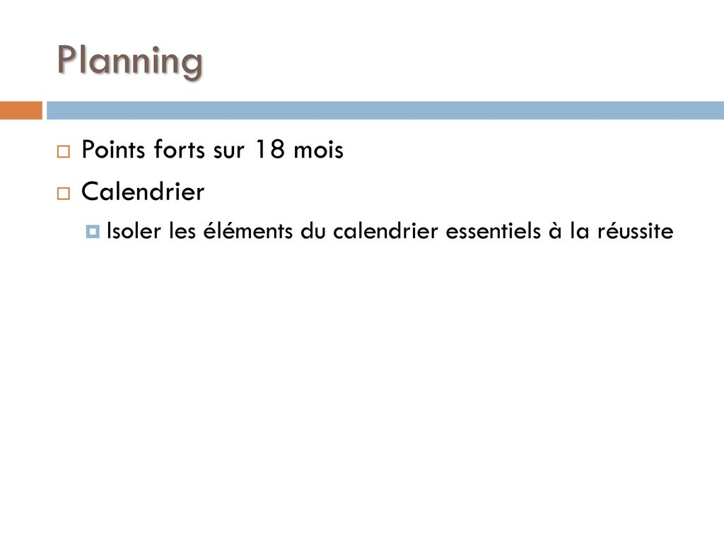 Planning Points forts sur 18 mois Calendrier