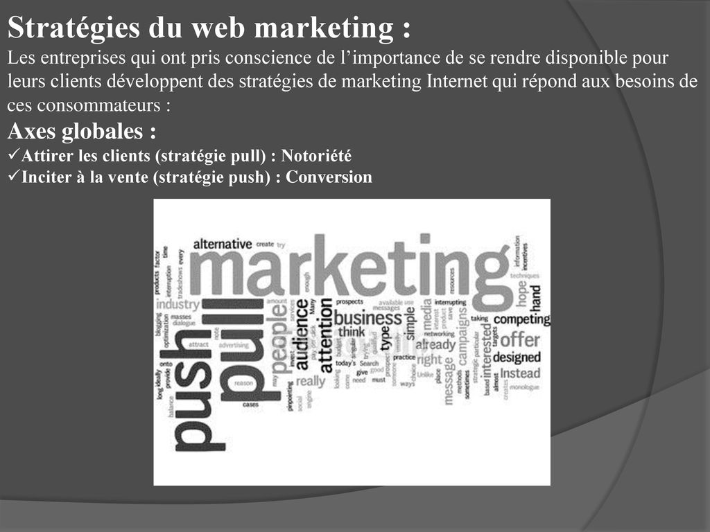 Stratégies du web marketing :