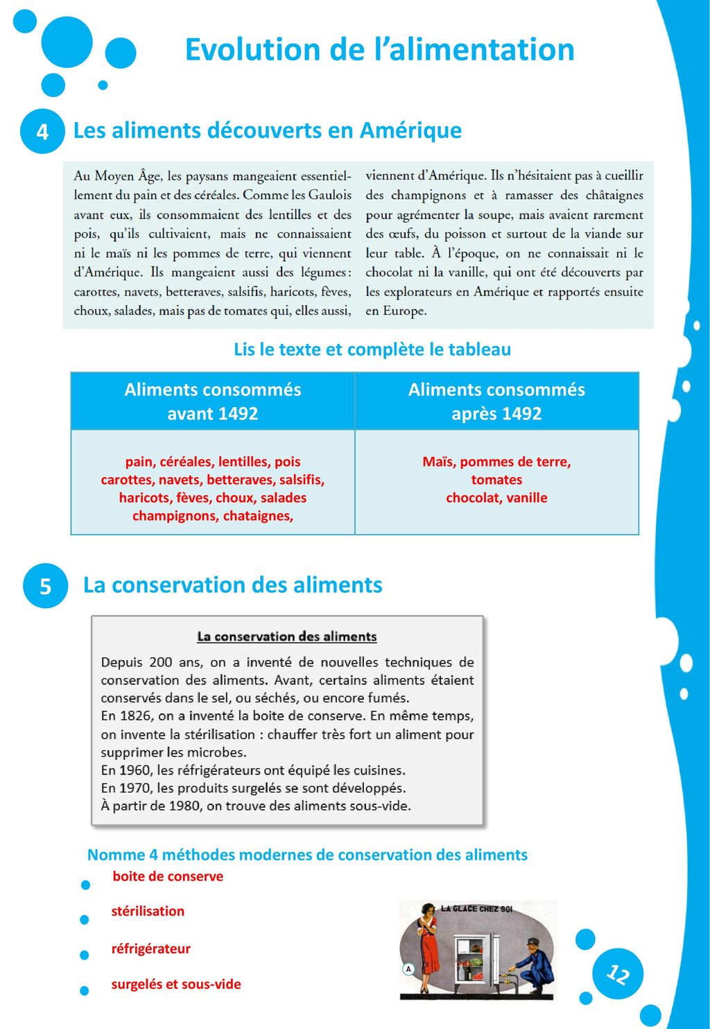 Evolution de l'alimentation