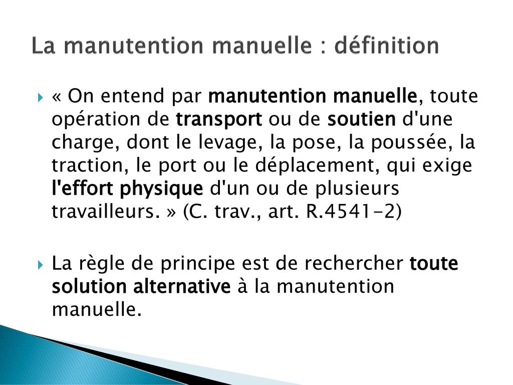 La manutention manuelle : définition