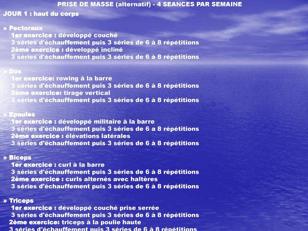 Dossiers Des Exemples De Programmes De Musculation Pour Ppt Telecharger