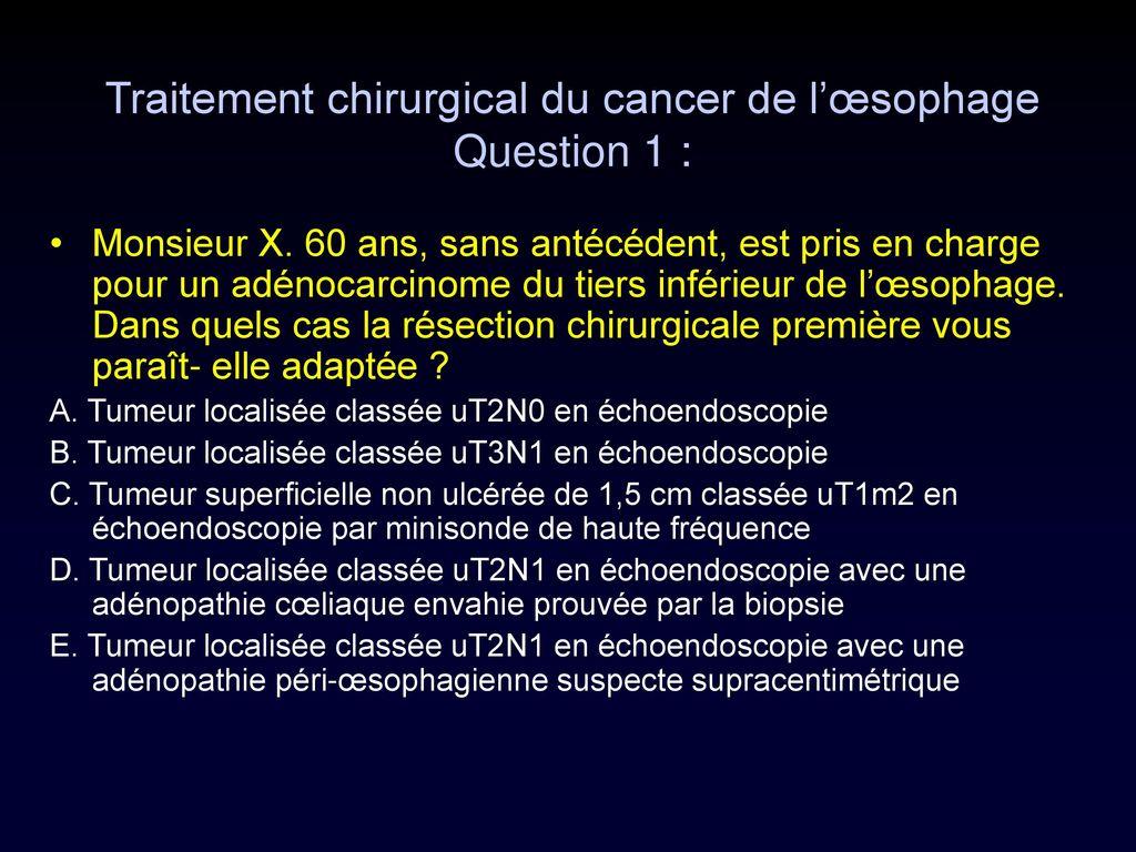 tumeur oesophage traitement