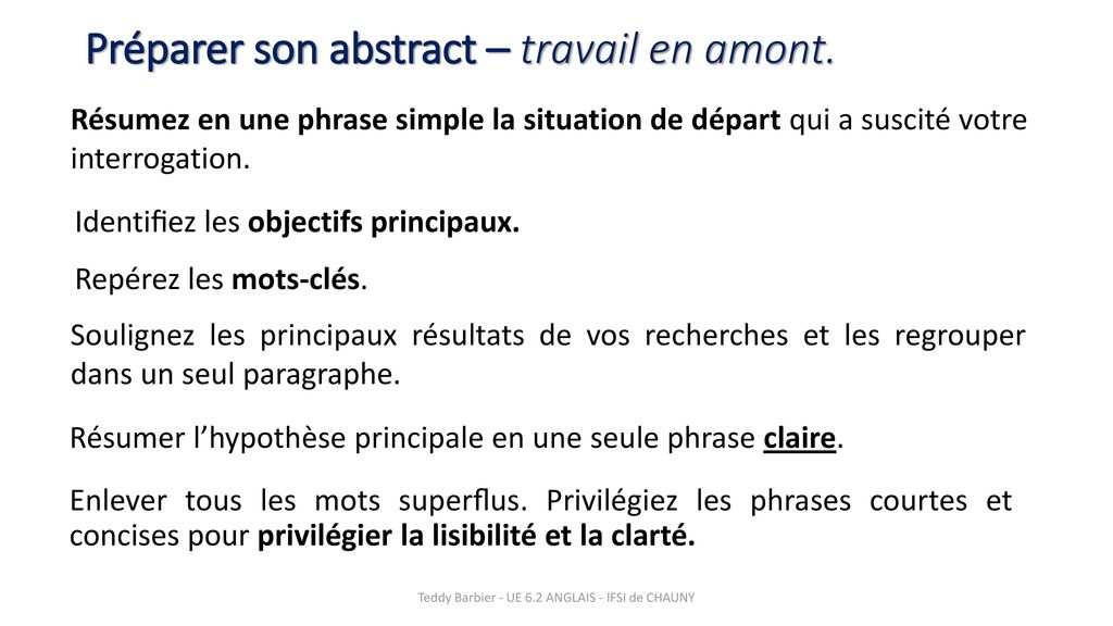 Préparer son abstract – travail en amont.
