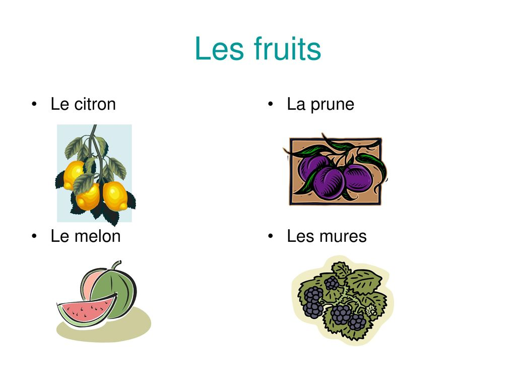 Les fruits Le citron La prune Le melon Les mures