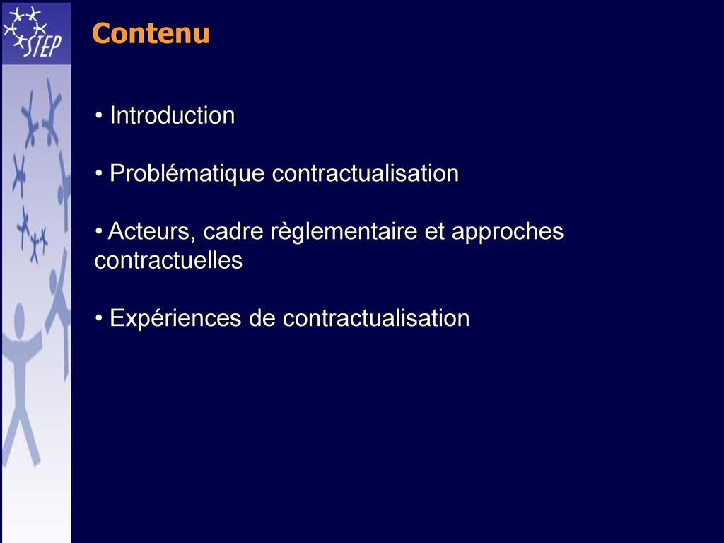 Contenu Introduction Problématique contractualisation