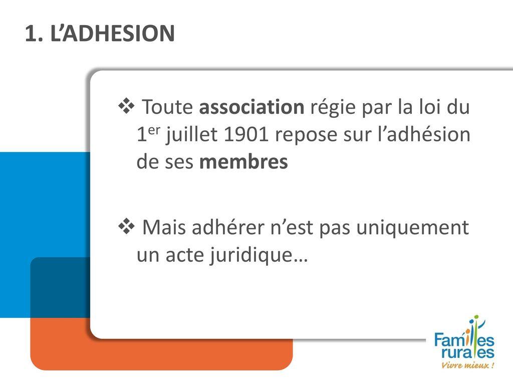 e4e18777909 L ADHESION Toute association régie par la loi du 1er juillet 1901 repose