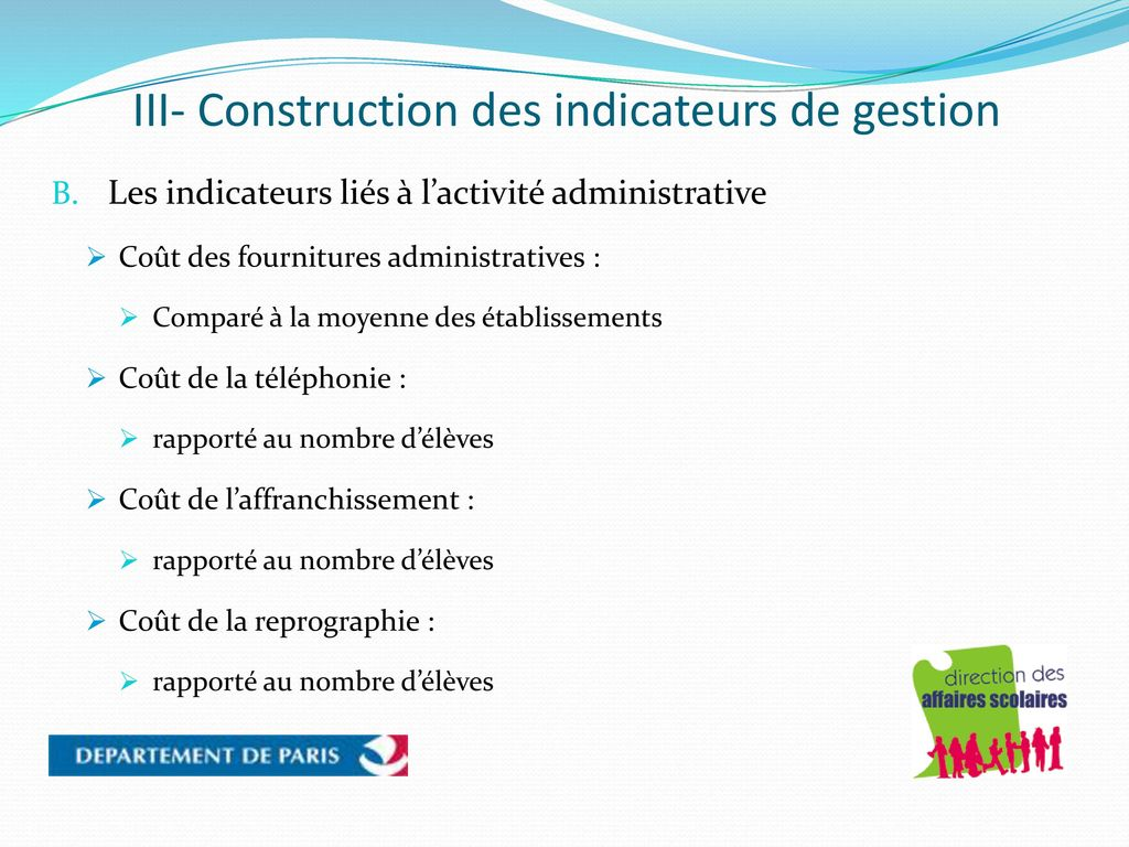 III- Construction des indicateurs de gestion
