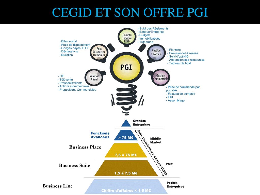 CEGID ET SON OFFRE PGI Business Place Business Suite Business Line