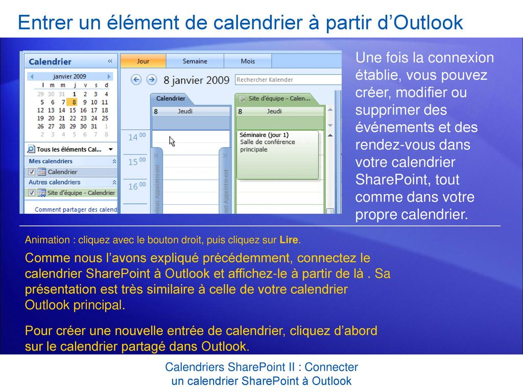 Supprimer Calendrier Outlook.Formation Microsoft Office Sharepoint Server Ppt Telecharger