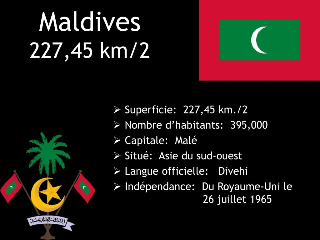 Maldives 227,45 km/2 Superficie: 227,45 km./2