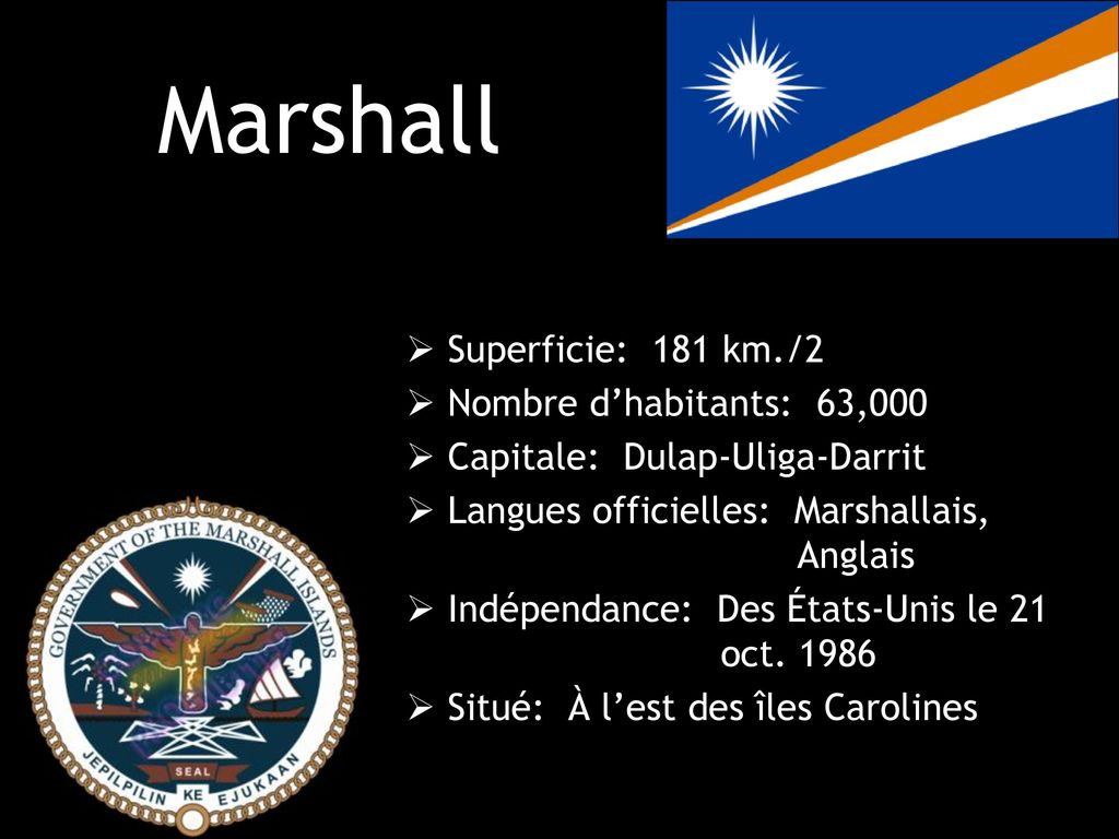 Marshall Superficie: 181 km./2 Nombre d'habitants: 63,000