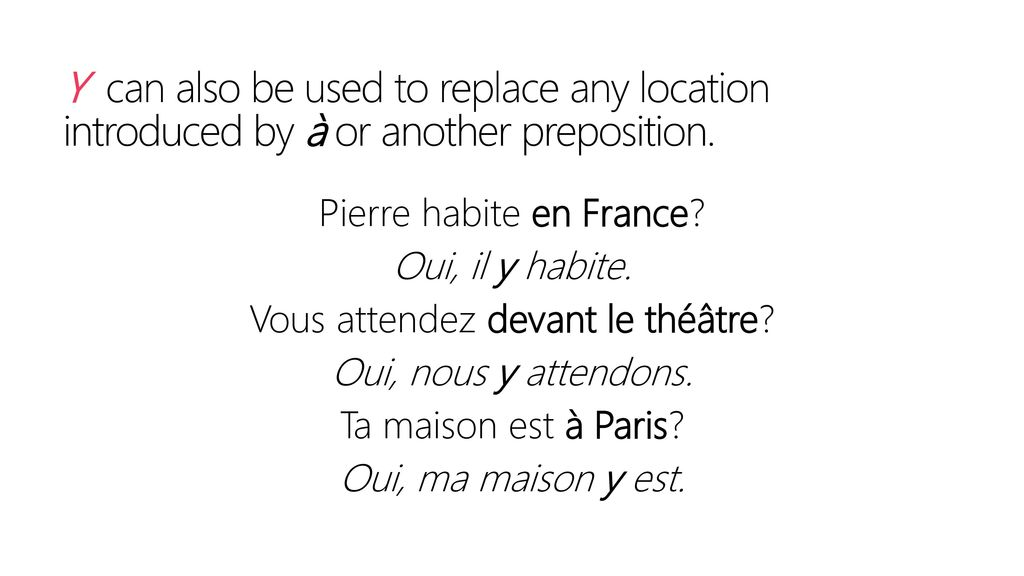 Y can also be used to replace any location introduced by à or another preposition.