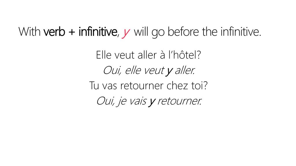 With verb + infinitive, y will go before the infinitive.