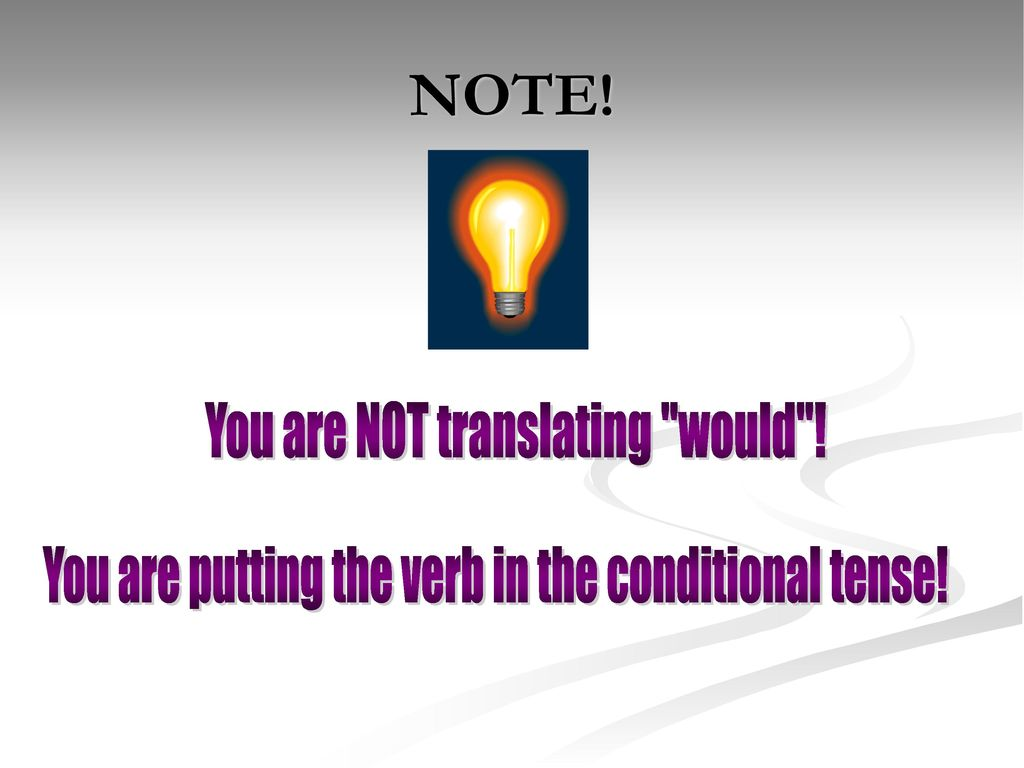NOTE! You are NOT translating would !