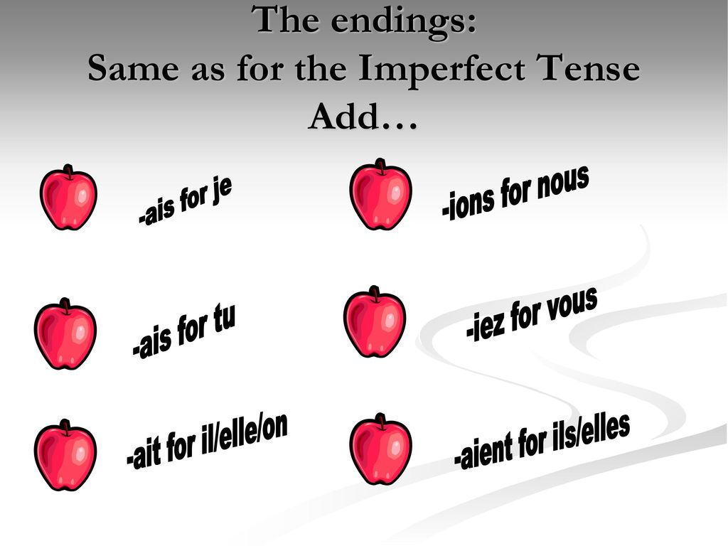 The endings: Same as for the Imperfect Tense Add…