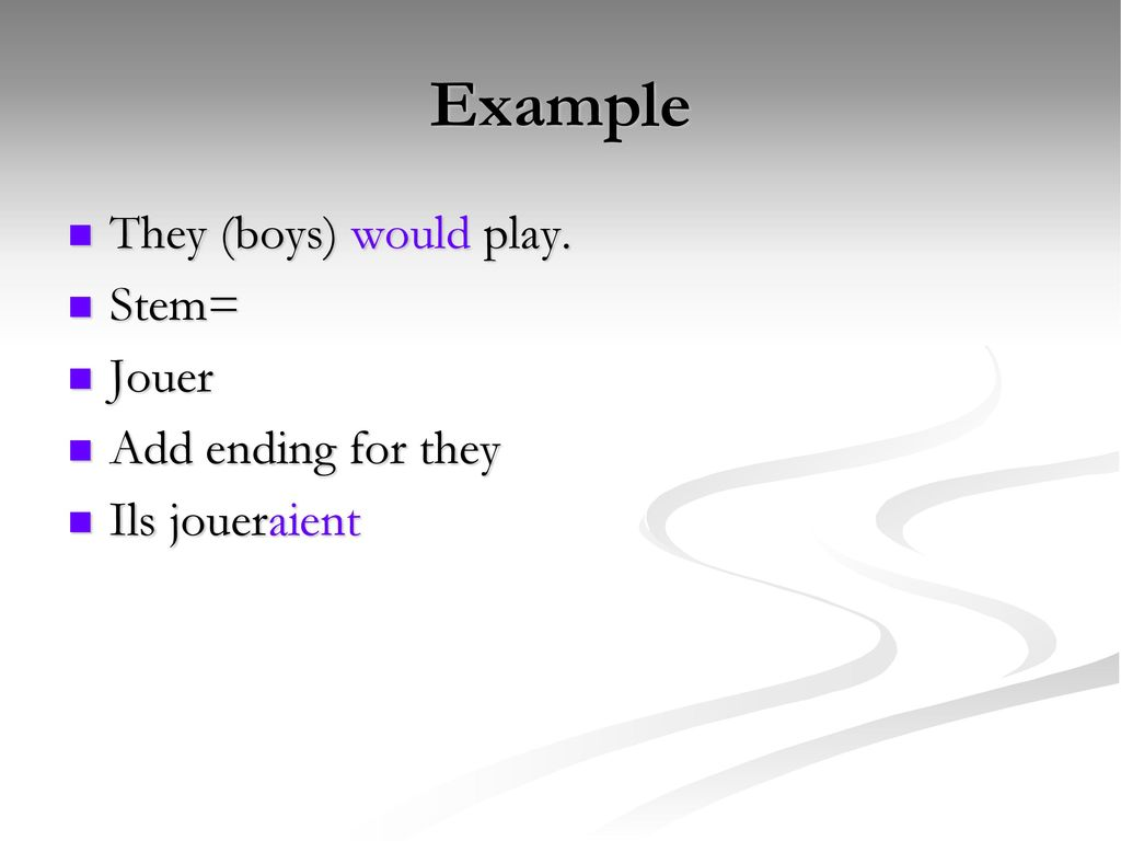 Example They (boys) would play. Stem= Jouer Add ending for they