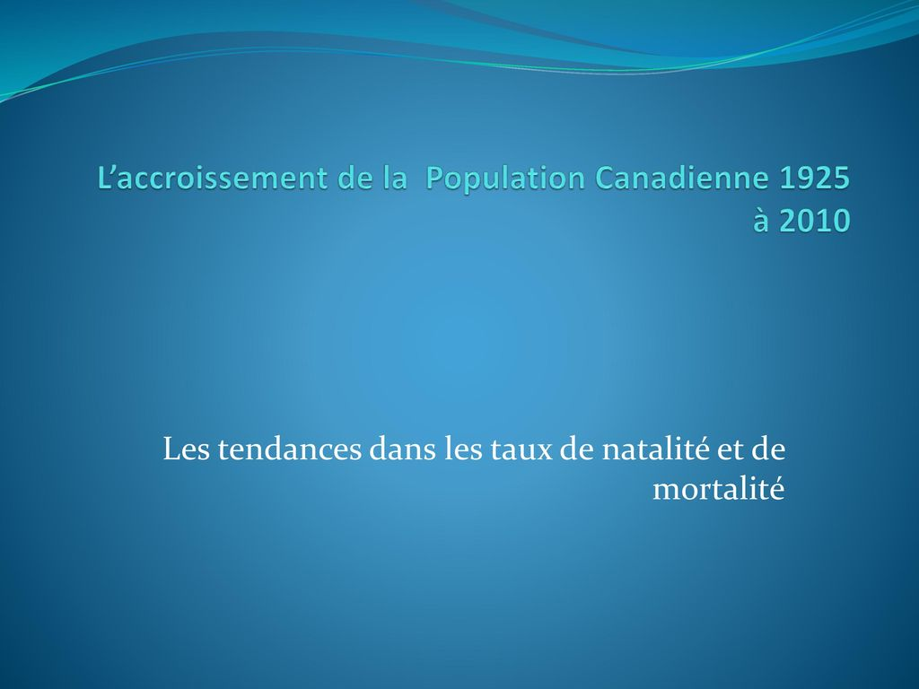 L'accroissement de la Population Canadienne 1925 à 2010