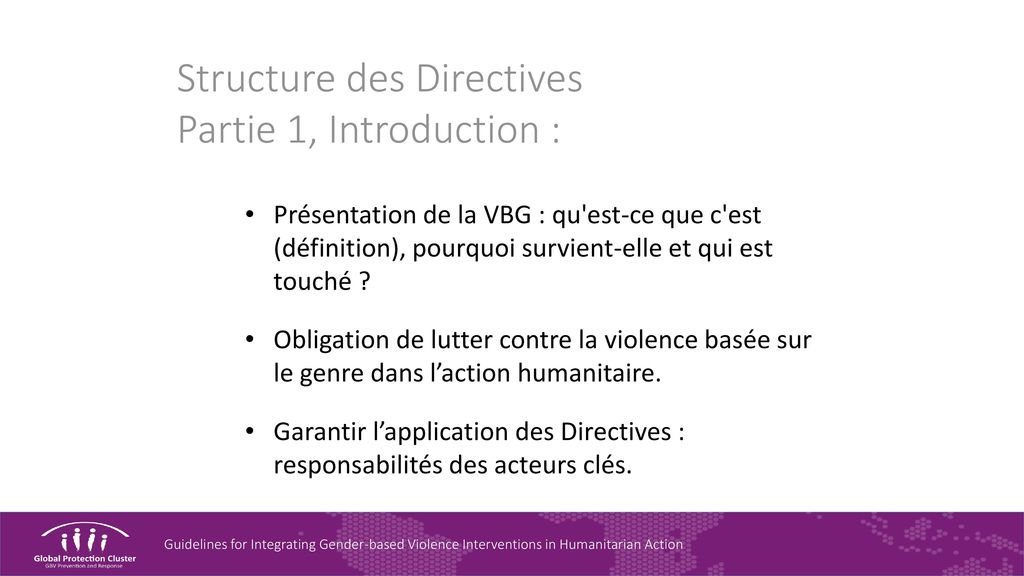 Structure des Directives Partie 1, Introduction :