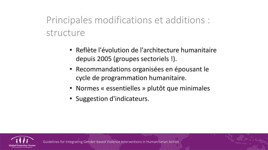 Principales modifications et additions : structure