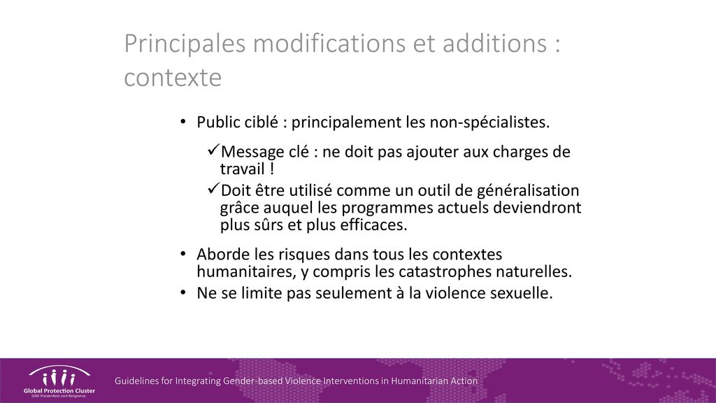 Principales modifications et additions : contexte