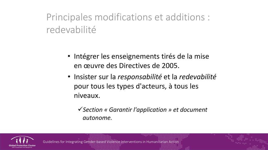 Principales modifications et additions : redevabilité