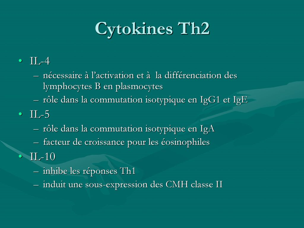 Cytokines Th2 IL-4 IL-5 IL-10