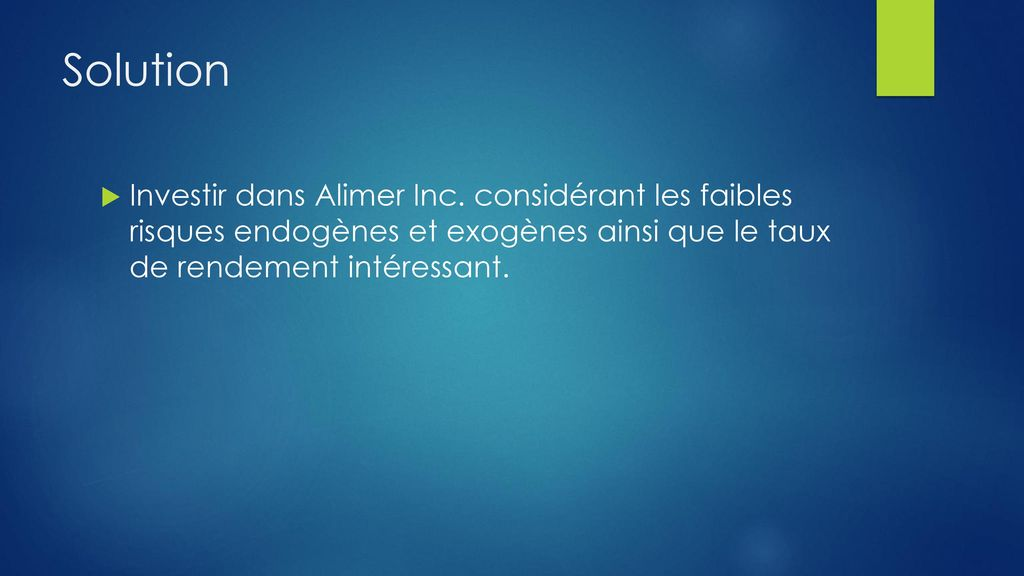 Solution Investir dans Alimer Inc.