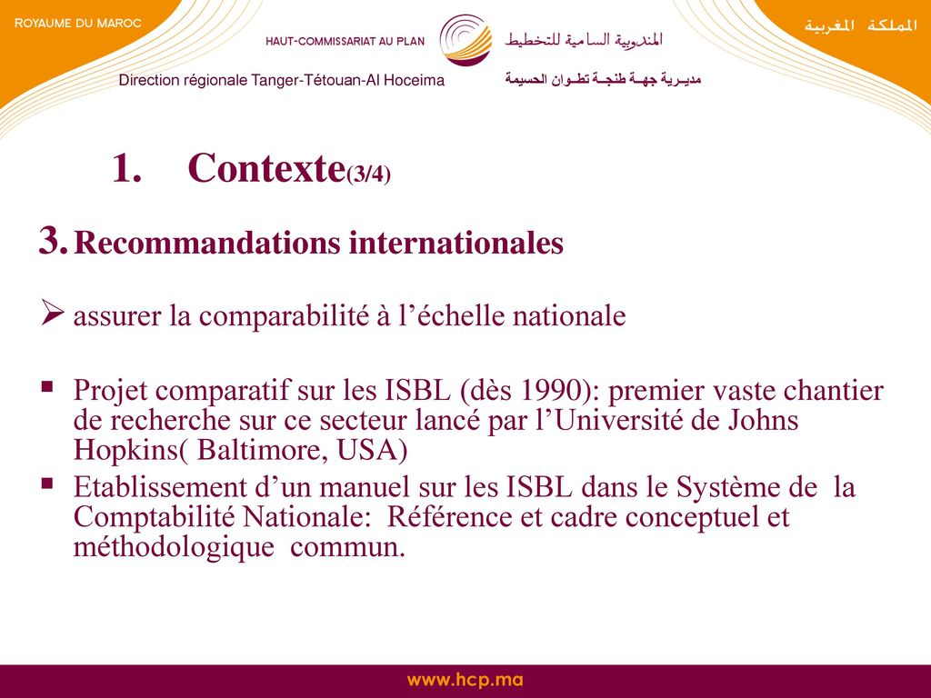 Contexte(3/4) Recommandations internationales