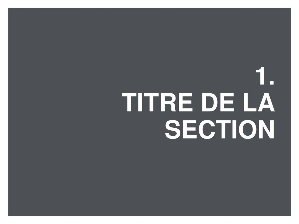 1. TITRE De LA SeCTION