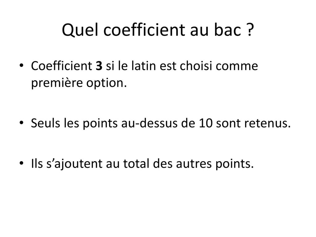 Quel coefficient au bac