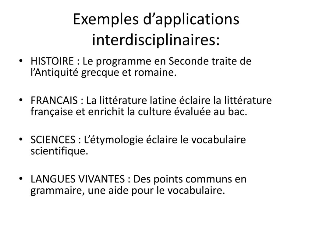 Exemples d'applications interdisciplinaires: