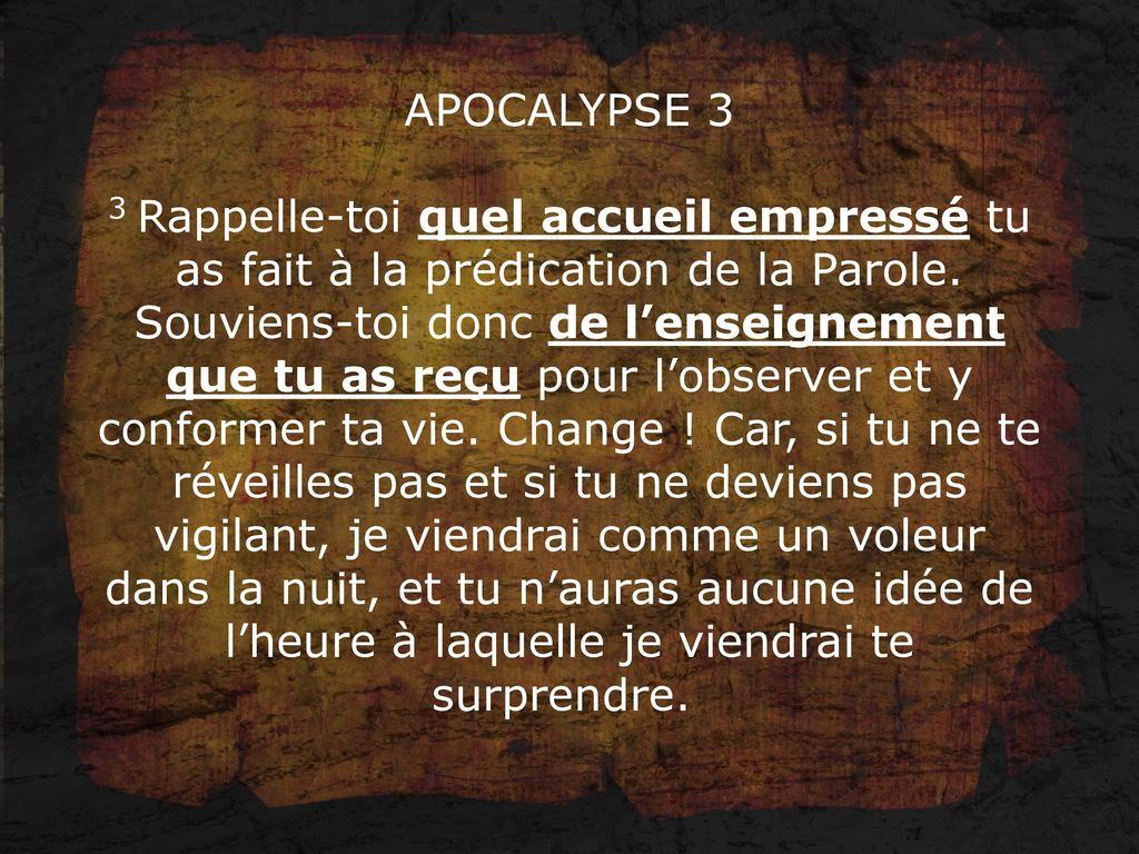 MESSAGE À L'ÉGLISE DE SARDES Apocalypse - ppt télécharger