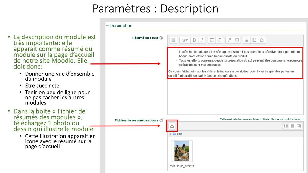 Paramètres : Description