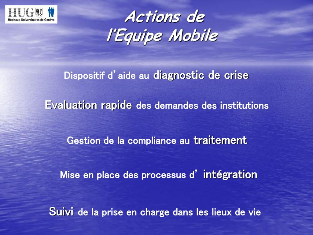 Actions de l'Equipe Mobile Dispositif d'aide au diagnostic de crise
