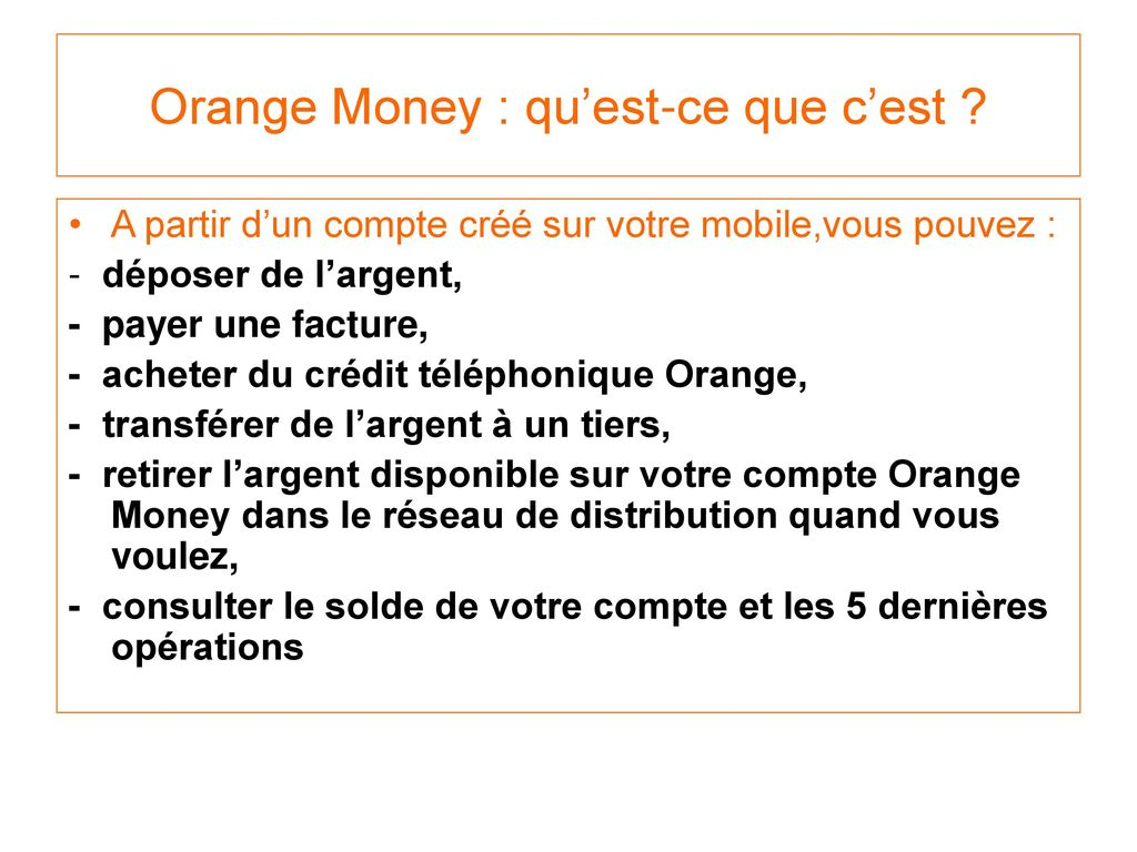 Brief Orange Money Artistes Ppt Telecharger